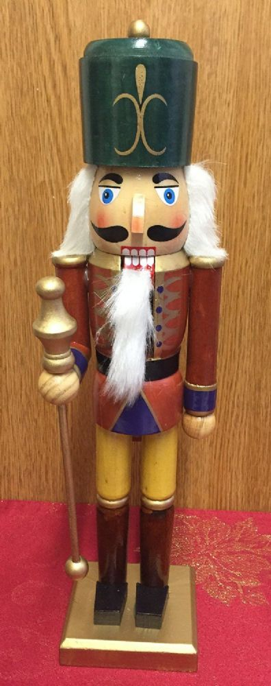Hand Painted Wooden Nutcracker 38 cm Traditional Christmas Ornament ~ Green Hat